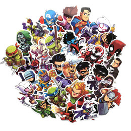 Wholesale 50 Cool Stickers for MARVEL Super Hero Decal Car Motobike Laptop Skateboard Luggage Sticker for Batman Superman Ironman Etc