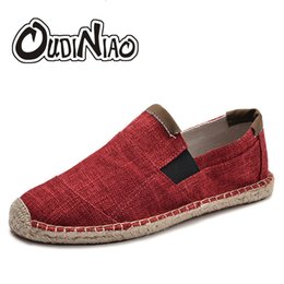canvas for shoes NZ - OUDINIAO Mens Shoes Casual Male Breathable Canvas Shoes Men Chinese Fashion 2019 Soft Slip On Espadrilles For Men Loafers SH190928