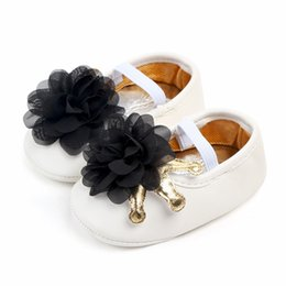 First Strap NZ - New style Baby girls princess shoes Cute Flower First walkers sole Anti-slip baby shoes 0-18 Months