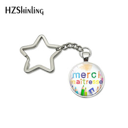 $enCountryForm.capitalKeyWord Australia - 2019 New Arrival Quotes Star Key Chains Merci Maitresse Glass Cabochon Star Keychain Car Accessories Keyrings Gift for Men Women