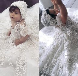 $enCountryForm.capitalKeyWord Australia - New Lace Flower Girls Gowns For Baby Girls Crystal 3D Floral Appliqued Baptism Dresses With Bonnet First Communication Dress