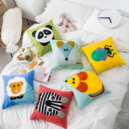Fine linens online shopping - Cute Cartoon Animals Pillow Cover Colorful Embroidered Fine Linen Pillow Cushion Decorative For Sofa Home Decor Throw Pillowcase