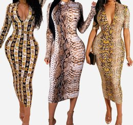 sexy snakeskin dresses Australia - Womens Designer Dresses Summer Brand Snakeskin Print Long Sleeve Dresses Womens Sexy V-Neck Bodycon Club Style Dress Hot Sale