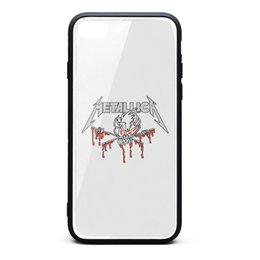 Vente en gros Coque iPhone 8 Plus, Coque iPhone 7 Plus Metallica Crâne 9H en Verre Trempé TPU Bumper Drop Protection Phone Case