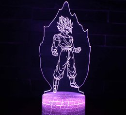 Wholesale Dragon Ball Super Saiyan God Goku Action Figures D Illusion Table Lamp Color Changing Night Light Boys Child Kids Baby Gifts