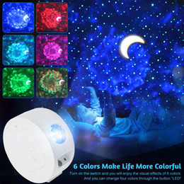 star projection night light kids UK - Starry Moon Sky Projector Light Star USB Night Light Sound Activated Music Projection Ocean Waving Lights Children Kids Night Lamp