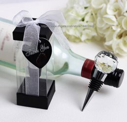 wedding favours bottles Canada - 100pcs Metal Crystal Round Ball Design Red Wine Bottle Stopper Stoppers Wedding Party Favor Favours Gift Gifts New