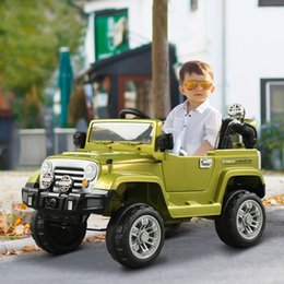 Wholesale 12V Kids Electric Battery Ride-On Toy Jeep Car w  Remote Control- Olive Green stock in US