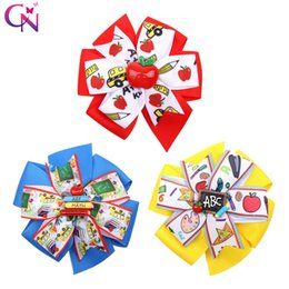 $enCountryForm.capitalKeyWord Australia - BACK TO SCHOOL Hair Bows for Girls Dot Ribbon Hairgrips Resin Bowknot Books Hairpins for Kids Print Hairclips Party Hair Accessories