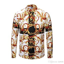 147675cb68be 2018 Wholesale Autumn winter 3D Harajuku Medusa gold chain Dog Rose print  shirts Fashion Retro Men Casual Slim long sleeve tops shirts M-