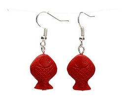 Red Fish Hooks NZ - Pair 2PCS Asian Tibet Silver Ear Hook And Carved Red Cinnabar Drop Earrings - Fish