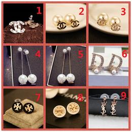 $enCountryForm.capitalKeyWord Australia - HOT!Classic 14K Brand Stud earring Gold Silver Letter Logo Pin Pearl Diamond Collar Pendant Ms Wedding Party Gift Box A15