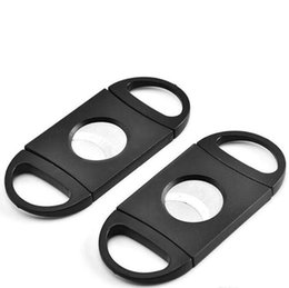 tobacco cutter Australia - Cigar Cutter Pocket Plastic Stainless Steel Double Blades Scissors Knife Tobacco Cigars Tool ABS Black Cigar Accessories 1200pcs IIA106