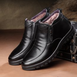 Discount black sheep shoes - 2019 New Men's Genuine Leather Boots Handmade Sheep Fur Men's Padded Warm Leisure Shoes Zipper Fashion Winter
