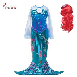 LittLe mermaid cospLay costume online shopping - Summer Girls Ariel Cosplay Dresses Flare Sleeve Little Mermaid Princess Party Costume Kids Photography Dress up