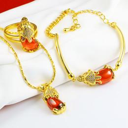 1ff943f133d7 Moneda 3D Tropas valientes 3 unids de conjunto de oro amarillo lleno collar  pulsera anillo conjunto joyería afortunada china