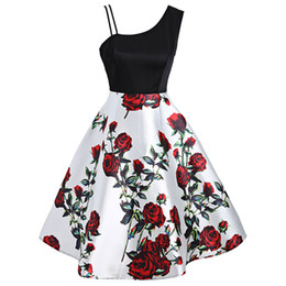 China Wipalo New Floral Print Vintage Dress Women One Shoulder Summer Pin Up Swing Party Dresses Retro Rockabilly Vestidos De Fiesta Q190429 cheap empire pin suppliers