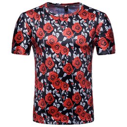 Male Flower Clothes Australia - Men's T-Shirt Fashion Rose Flower T Shirts Round Neck Male Top Summer Clothing Streetwear Plus Size M-XXL Black