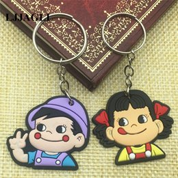 37 Keys NZ - Cartoon Anime Peko Poko Keychain Key Cover Fujiya Co Kids Straps PVC 37*90mm Key Holder Phone Cartoon Hangings ACT016