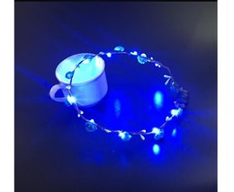 $enCountryForm.capitalKeyWord Australia - Fashion LED strings Glow Flower Crown Headbands Light Party Rave Floral Hair Garland Luminous Wreath Wedding Flower Girl kids toys