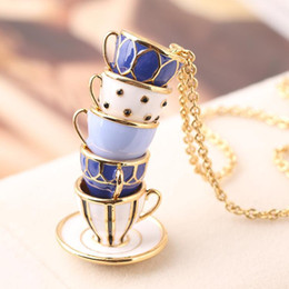 necklaces pendants Australia - Top quality Brass Material Enameled cups pendant necklace brand name necklace in 88cm length women jewelry gift wedding PS5080