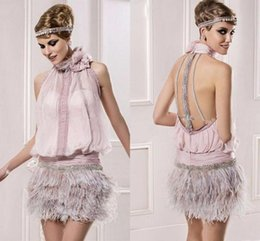 gatsby gowns NZ - Vintage Great Gatsby Pink High Neck Short Prom Formal Dresses with Feather Sparkly Beaded Backless Cocktail Party Occasion Gown