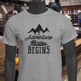 $enCountryForm.capitalKeyWord NZ - Adventure Begins Camper Wholesale S Explore Travel Mens Gray T-Shirt T Shirt For Men Geek White Short Sleeve Custom 3XL Group Tshirt