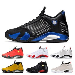 red white basketball shoes for men Australia - Brand SPM x 14 14s Basketball Shoes for men Jumpman Triple s Black White Suede Leather Ferrar Red University Gold Thunder Sports Sneakers