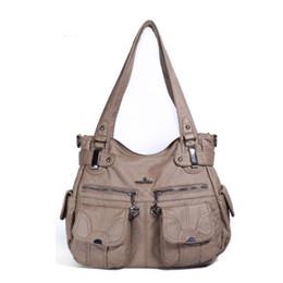 Washed Messenger Bag Australia - Woman Wrist Shoulder Bag Handbags Tote Purse Simple Messenger Diagonal Package Dumpling Package Washing Water PU Crossbody Bag