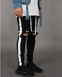 Wholesale denim men zipper jeans resale online – designer New Fashion Mens Jean Street Black Holes Designer White Stripes Jeans Hiphop Skateboard Pencil Pants