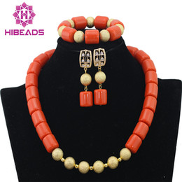 Red Coral Beads Set Australia - Pretty African Wedding Orange Coral Beads Nigerian Beaded Necklace Jewelry Free Shipping Set CG006 C19010301