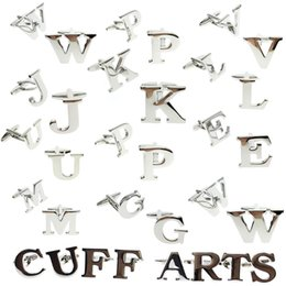 Clip Charms Free Shipping Australia - Cufflinks For Men Letter A-Z Cufflinks Men Free Shipping English Alphabet Shirt Charm Witg Gift Box By Cuffarts