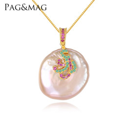 Necklaces Pendants Australia - PAG&MAG White Pink Color Large Size Tissue Nucleated Flameball Shape Natural baroque Pearl Pendant 925 Sterling Silver Necklace