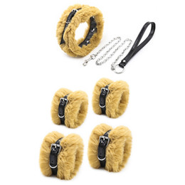 furry bondage restraints NZ - 2020 Latest BDSM Fetish Furry Wrist Cuffs Ankle Cuffs Collar with Leash Bondage Gear Restraints Adjustable Sex Toys GN261500140