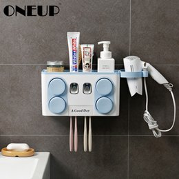 bathroom suction cup holder Australia - Oneup Automatic Toothpaste Dispenser With Suction Cup Toothbrush Holder Wall Mount Stand Shelf Organizer Bathroom Accessories Y19061804