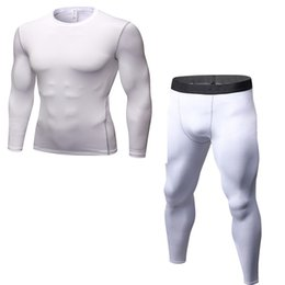 Use Underwear UK - New Men Sets Compression Sweat Quick Drying Thermo Underwear Men Clothing Long Johns Long sleeve + pants Multi-use Fitness 2018