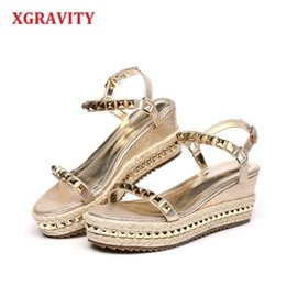 elegant gold sandals Australia - Xgravity 2019 Hot Sales Summer Lady Fashion High Heel Wedge Sandals Elegant Rivets Design Lady Fashion Wedges Ladies Shoes 285 Y19070303