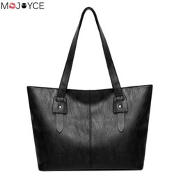 Tote Large Canada - Simple Black Women Handbags Large Capacity Shopping Tote Casual Zipper PU Leather High Quality Shoulder Bags Nice New Vogue