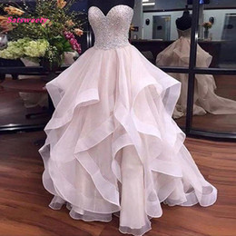 Illusion Sparkling Wedding Dresses Australia - Pretty Pearl Pink Ruffles Wedding Dresses 2019 Sparkle Beaded Lace Bridal Gowns Off Shoulder Lace Up Plus Size Robe De Mariee