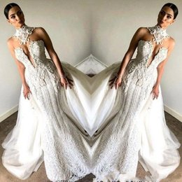Wholesale fancy dress customs for sale – halloween Fancy Full Lace Sleeveless Mermaid Wedding Dresses With Overskirts High Neck BeadedPlus Size Vintage Bridal Wedding Gowns BC0672