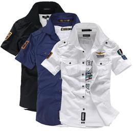 $enCountryForm.capitalKeyWord NZ - 2018 NEW short sleeve shirts Fashion airforce uniform military short sleeve shirts men's dress shirt free shipping