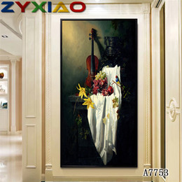 Violin Paintings Australia - ZYXIAO Posters and Prints parrot fruit violin modern Oil Painting Canvas No Frame Wall Pictures for Living Room Home Decoration A7753