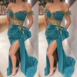 peacock blue long dresses Canada - Elegant Peacock Blue Prom Dresses Off Shoulder Side Slit Luxury Beaded Crystal Applique Custom Made Evening Party Gowns Formal Occasion Wear