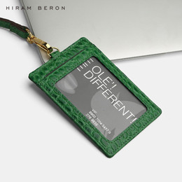 $enCountryForm.capitalKeyWord Australia - Hiram Beron Custom Name Service Name Tag Card Holder Lanyard Id Holder Retractable Embossed Crocodile Pattern Cow Leather J190702