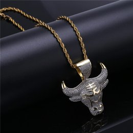 Gold Bull Pendant Australia - 18K Gold Plated Hiphop Jewelry Necklace For Men Women Cool Ice Out CZ Bull Head Pendant Necklaces Wholesale