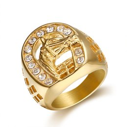 Stainless Steel Indian Head Rings Australia - Stainless Steel Gold Color Horse Head Pave Setting Small Zircon Hollow Punk Rock Ring for Male Fashion Jewelry
