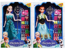 Princess dress uP shoes online shopping - Frozen Cartoon princess doll handmade dress shoes clothes crown Magic wand up Action Aisha Ana Lovely Toy Model For kid birthday gift