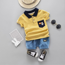 Blue Bear Suit Australia - 2019 New Summer Leisure Edition Kids Short Sleeve Suit Cartoon Stripe Bear Pocket Flip Collar Short Sleeve Short Sleeve Suit 1-4T