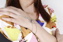 Chain Finger Rings Australia - New Trendy Net Mesh Hand Chain Bracelet With Finger Ring Crystal Slave Bracelets Bangle Women Bridal Wedding Jewelry -Ff