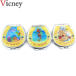 Brands Makeup Australia - Vicney Brand New Beaches and ocean series hand Mirror Portable Double Sided Mini Pocket Makeup Mirror Cosmetic Compact Mirrors